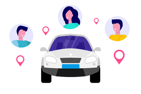 Car Sharing, Transport renting service concept. Vector illustration. Vettoriali