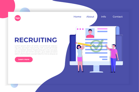 Recruitment, Job search concept, landing page template. Use for presentation, social media, cards, web banner. Vector illustration