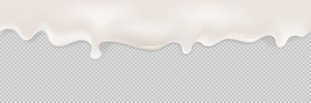 Creamy liquid realictic. Seamless pattern. Illustrations isolated on transparent background. Ilustração Vetorial