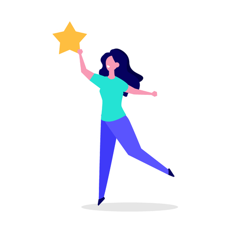 Glücklicher Kunde, Benutzer-Feedback-Rezension Konzept Vektor-Illustration flachen Stil