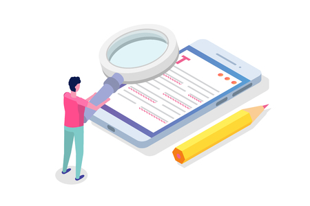 Editable online document. Creative writing and storytelling, copywriting . Online education, distant learningconcept. Isometric Vector illustration.