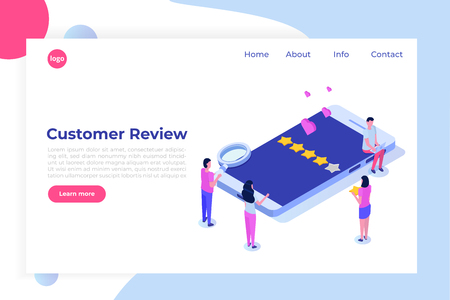 Customer review, Usability Evaluation,  Feedback,  Rating system isometric concept. Vector illustration