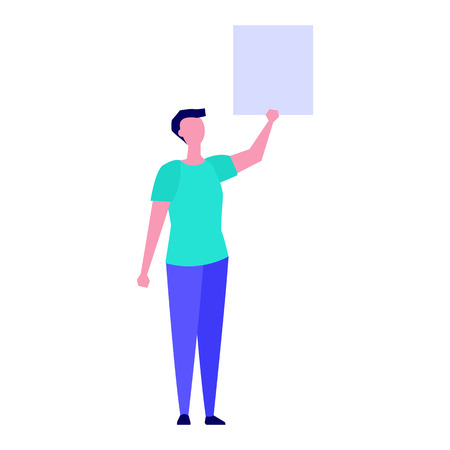 Activist or Protester holding blank banner.  Flat style  Vector illustration.