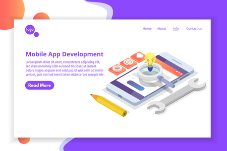 Mobile App Development isometric concept. Landing page template. Vector illustration. Векторная Иллюстрация