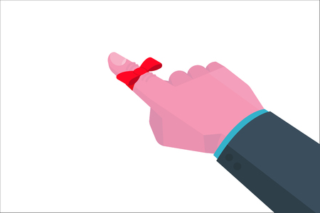 Businessman's hand with Reminder string on finger isometric consept. Vector illustration.