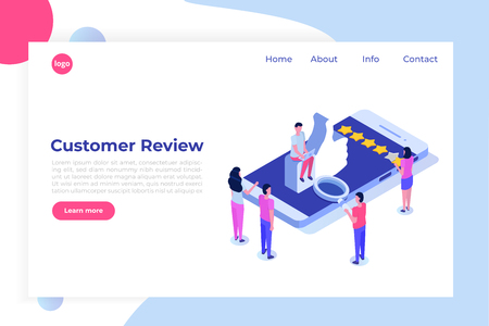 Customer review, Usability Evaluation, Feedback, Rating system isometric concept. Vector illustration Vektorové ilustrace