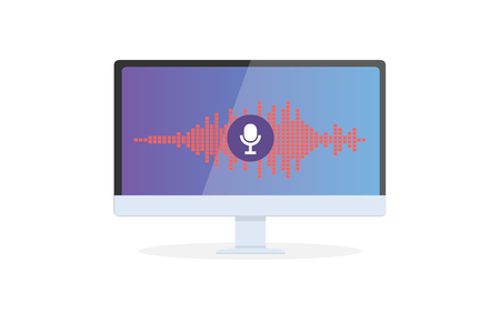 Voice recognition Personal assistant on mobile app. Concept flat vector illustration of device with microphone icon on screen and voice and sound imitation lines.