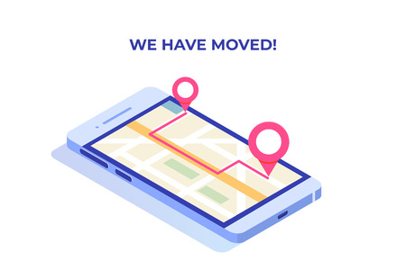 We have moved, changed address isometric concept, landing page template. Mobile navigation,GPRS.