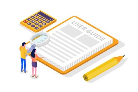 Manuel d'utilisation, guide, instructions, guide, concept isométrique du manuel. Illustration vectorielle. Vecteurs