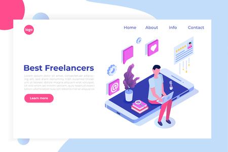 Freelancers service isometric concept with text place. Landing page template. Illustration