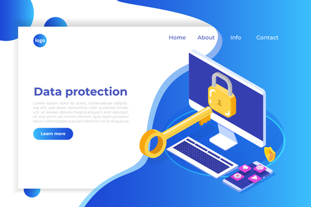 Data protection, Internet security isometric concept. VPN, Encryption, Privacy Protection. Vector illustration 3d isometry.