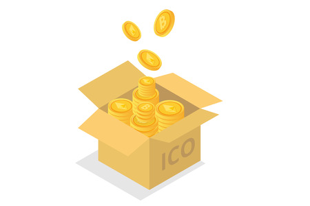 Ico concept, Initial coin offering. Vector illustration.