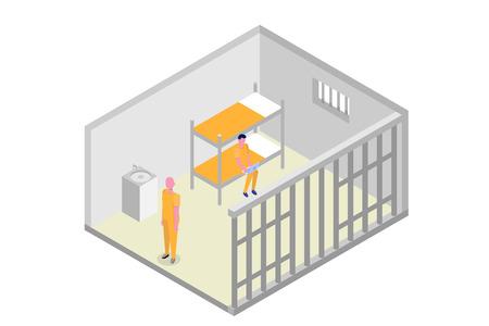 Isometric prison cell. Vector jail, Incarceration concept. Vector illustration 向量圖像