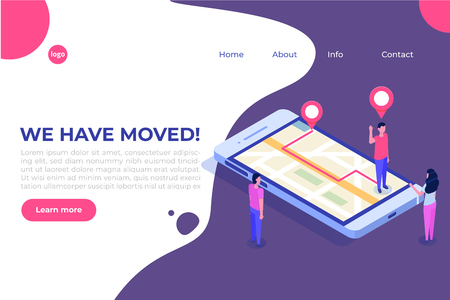 We have moved isometric concept, changed address navigation. Landing page, social media, banner, presentation template. Illustration