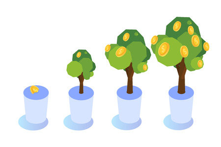 Money tree with coins growing, Business investment icon isometric concept.