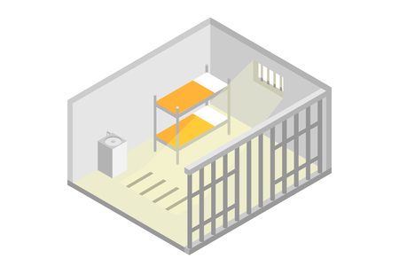 Isometric prison cell. Vector jail, Incarceration concept. Vector illustration Illustration