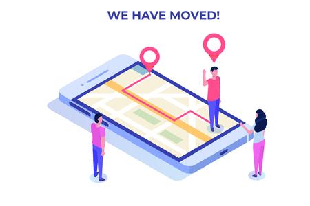 Nous avons déplacé le concept isométrique, modifié la navigation par adresse. Page de destination, médias sociaux, bannière, modèle de présentation.