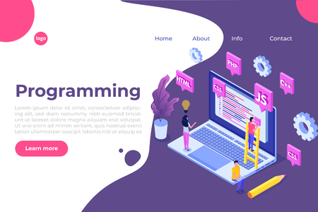 Programming Software or app development isometric concept, big data processing. Vector  illustration
