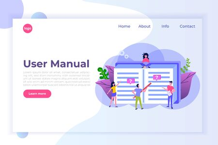 User manual flat style concept. People with guide instruction are discussing about content of handbook. Vector illustration.