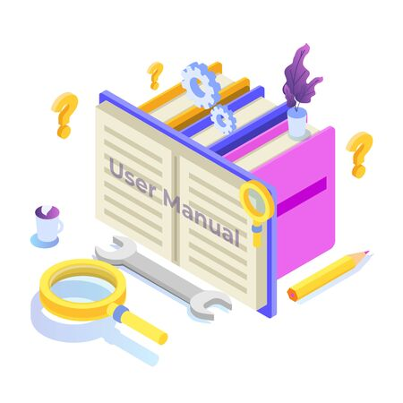 User manual  isometric icon concept. Vector illustration.
