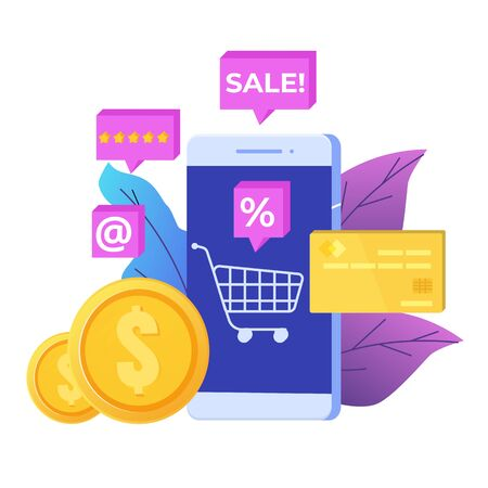 Online Shopping on mobile phone concept. Ecommerce retail app on device. Vector illustration. Ilustración de vector