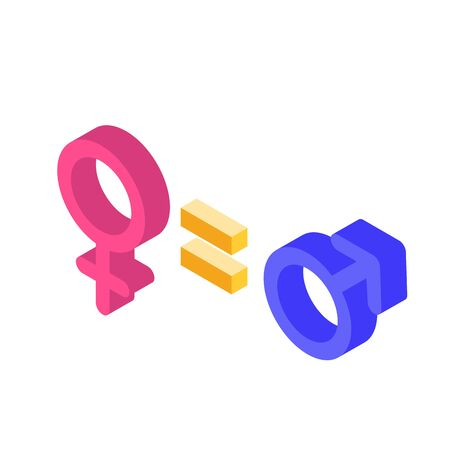 Gender equality, Equal pay and opportunity  isometric concept with male and female sign. Vector Illustration.