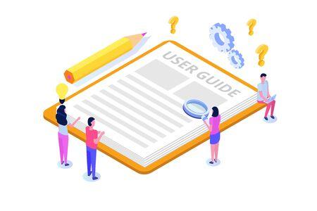 Benutzerhandbuch isometrisches Konzept. Leute mit Führerinstruktionen diskutieren über den Inhalt des Handbuchs. Vektor-Illustration. Vektorgrafik