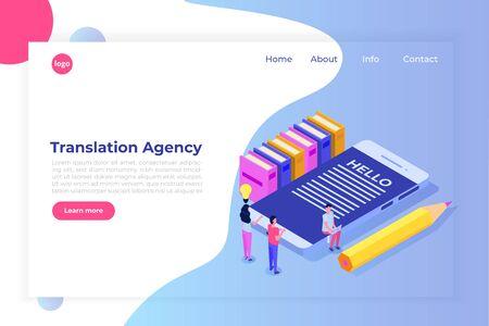 Concept isométrique de l'agence de traduction en ligne. Services d'interprétation. Illustration vectorielle