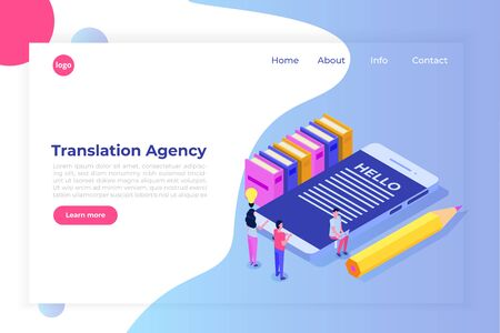 Online Translation agency isometric concept. Interpretation services. Vector illustration Vectores
