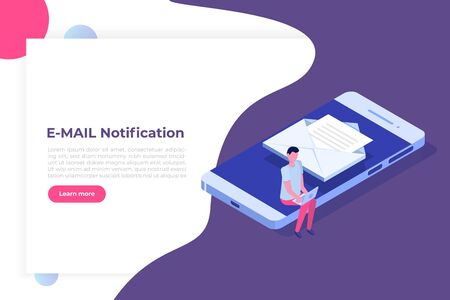 Isometric Smartphone with email notification. Get E-mail concept. Vector illustration Çizim