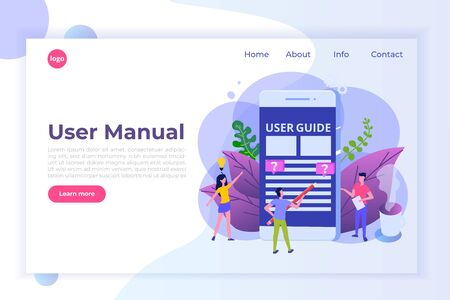 User manual flat style concept. People with guide instruction are discussing about content of handbook. Vector illustration. Vektoros illusztráció