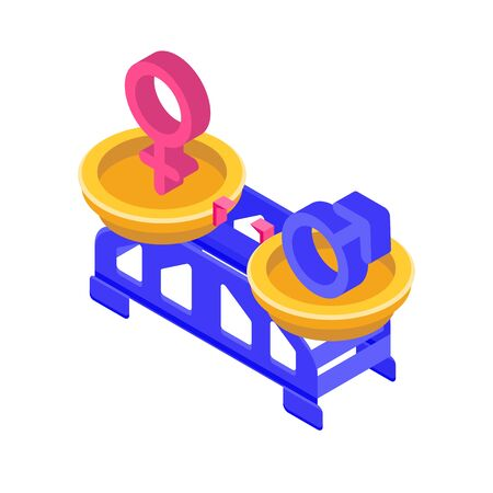Gender equality, Equal pay and opportunity  isometric concept with male and female sign on  scale. Vector Illustration.