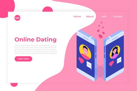 Online dating applications, virtual relationships vector isometric concept.  Çizim