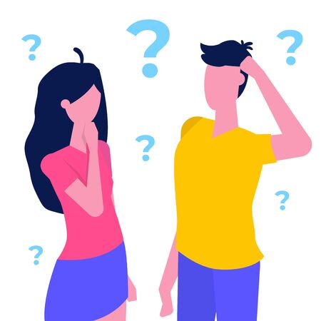 Thinking couple, woman and man  with question marks  thinking together.  Vector illustration