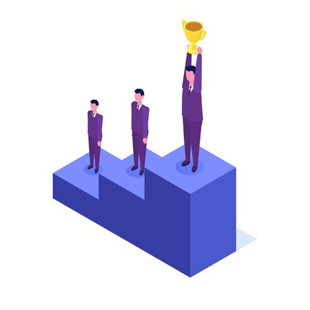 Employees professional growth, career achievements  isometric concept. Vector illustration