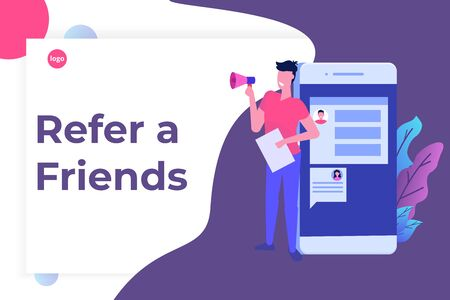 Refer a friend, shout on megaphone, flat style concept. Sharing Referral Code. Vector illustration  Çizim