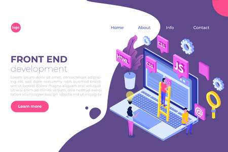 Web design and Front end development isometric concept. Vector illustration.