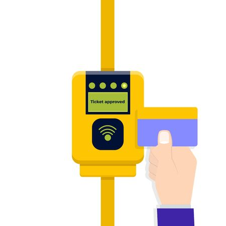 Card ticket validation, contactless cashless payments. Flat style Vector illustration.