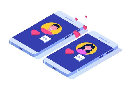 Online dating applications, virtual relationships vector isometric concept.