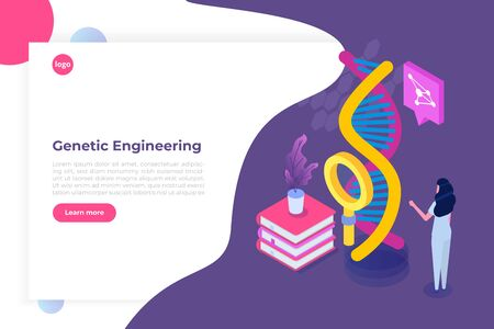 CRISPR CAS9 - Genetic engineering isometric concept. Vector illustration Çizim