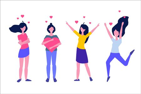 Love Yourself Girls. Narcissistic, self-confident flat style concept. Vector characters illustration