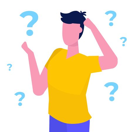 Man is thinking with question marks.  Vector illustration in flat style