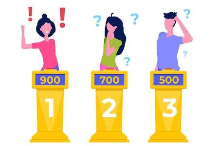 Quiz show concept flat style.  Tv competition. Vector illustration.