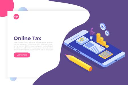 Pay tax online isometric concept. Accountant workspace elements.