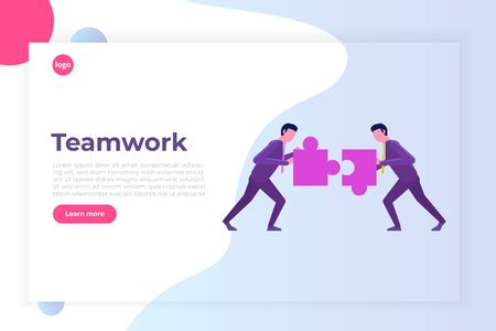 Two businessmen unite  the puzzle. Teamwork, working together isometric concept. Vector illustration.