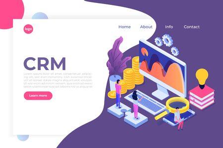 CRM - Customer relationship management isometric concept. Vector illustration Çizim