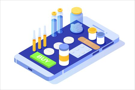 Online pharmacy isometric concept with  medicine pills bottle. Vector illustration Çizim