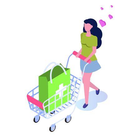 Pharmacy store concept. Buy medicine online, flat isometric vector illustration