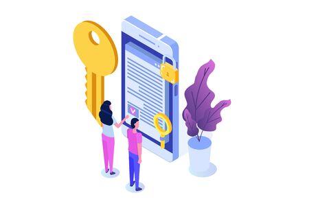 Smart contract, Digital signature isometric concept. Blockchain technology. Vector illustration Çizim