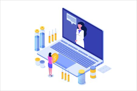 Online pharmacy isometric concept with  medicine pills bottle. Vector illustration Иллюстрация